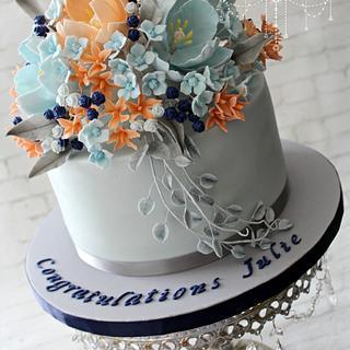 Julie's floral graduation cake