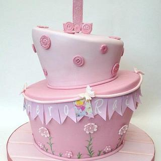 Topsy Turvy Bunting, Butterflies & Buttons Cake - Cake by Chocomoo