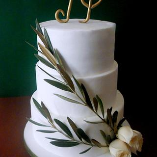 WEDDING CAKE WITH OLIVE BRANCH