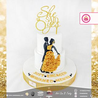 Bridal 1st Dance Engagement Cake