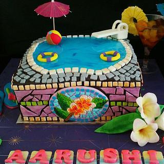 MOSAIC Swimming pool cake