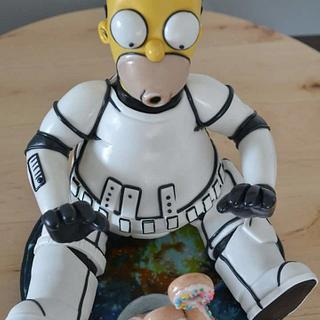 Homer and floating donuts caketopper