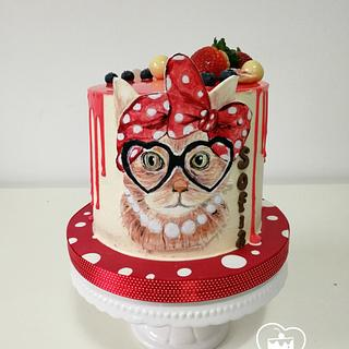 a cat wearing glasses - Cake by MOLI Cakes