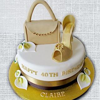 Shoe, handbag and Lily cake