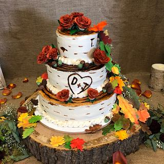 Fall Themed Birch Tree Wedding Cake