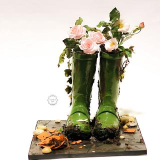 Wellie boots and sugar roses
