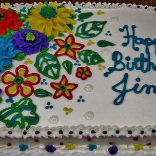 Buttercream flowers for man's birthday