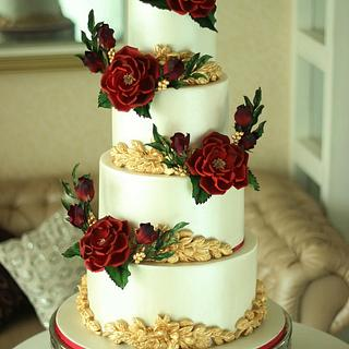 """Vibrant Rouge- Wedding cake"