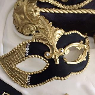Masquerade mask pillow cake sweet 16 - Cake by Talk of the Town Cakes LLC