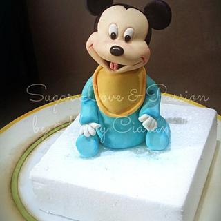 Baby Mickey Mouse topper  - Cake by Mary Ciaramella (Sugar Love & Passion)