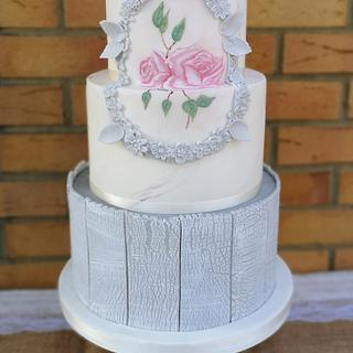 Wooden and marbled cake
