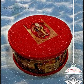 Christmas in Frosting ~ Victorian Christmas Box with 3D edible decopage gift tag