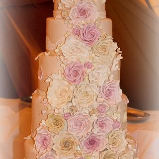 7 Tier Rose Cascade Wedding cake