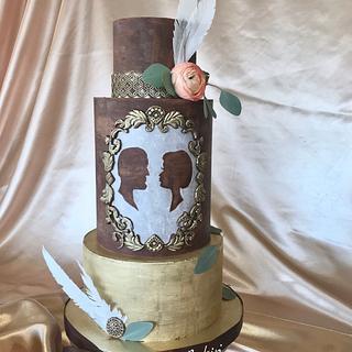 Gold wedding cake