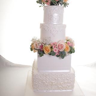 White Asian wedding cake