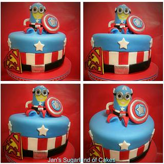 """Superjosh"" Collaboration -  Minion Captain America - Cake by Janice Barnes - Jan's Sugarland of Cakes"