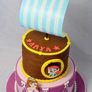 Jake the Pirate and Princess Sofia Cake - Cake by Strawberry Lane Cake Company