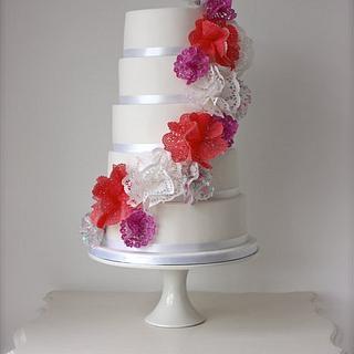 Doily Cascade Wedding Cake