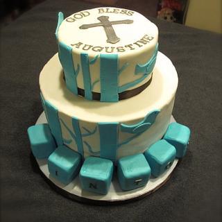 Blue Bird Baptismal Cake
