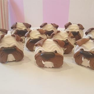 Cute little bulldog pup cakes  - Cake by Helen at fairy artistic