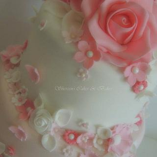 Pink & White Wedding - Cake by Shereen