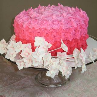 Ombre Pink Rosette Cake with Gumpaste Blossoms