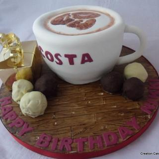 Costa Coffee Cup themed cake - Cake by Creationcakes