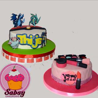 Two cakes Pokemon and make-up