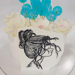 Girl Cake handpaint