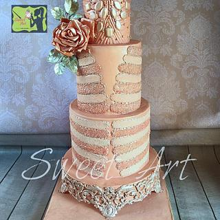 Blush&silver wedding cake