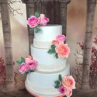 Wedding cake pink&peach - Cake by Cake Garden