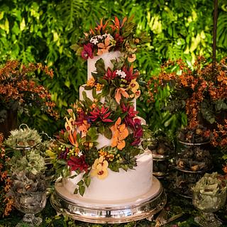 Wedding Cake and Tropical sugar flowers