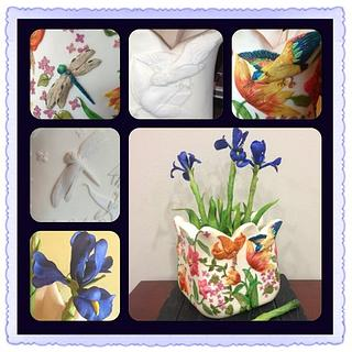 Hand painted pot & iris flowers - Cake by Kerri Morris