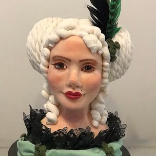 Busto mujer barroco chocolate plástico