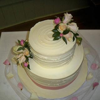 textured white chocolate ganache wedding cake