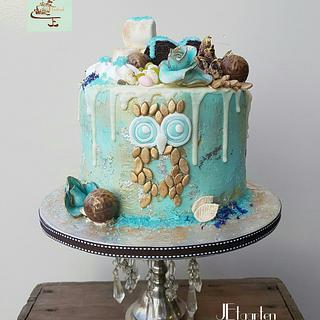 Aquablue garden on top - Cake by Judith-JEtaarten