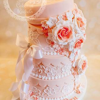 Pretty Peach Celebration Cake