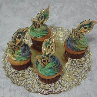 Peacock Glory Cupcakes