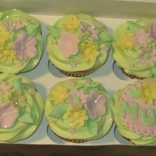 mum cupcakes in spring colours