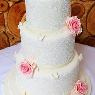 Ivory Damask and Pink Roses Wedding Cake