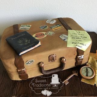 Vintage travel theme cake