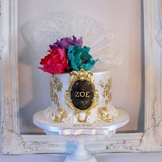 Gold stencilling with Peonies