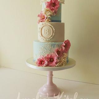 Vintage style 18th birthday cake - Cake by Helen Ward