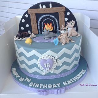 18th Birthday Cat Themed Cake