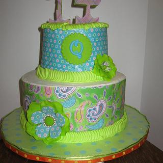 Blue, lime green and orange cake for my granddaughter