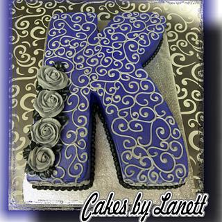 K Cutout Cake - Cake by lanett