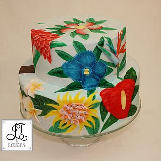 Exotic flowers hand painted cake cake