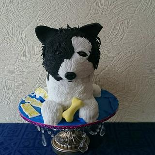 sculpted dog cake