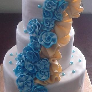 Blue & Yellow Rosette Cake