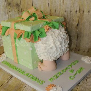 Ruffled Baby Bootie Shower Cake